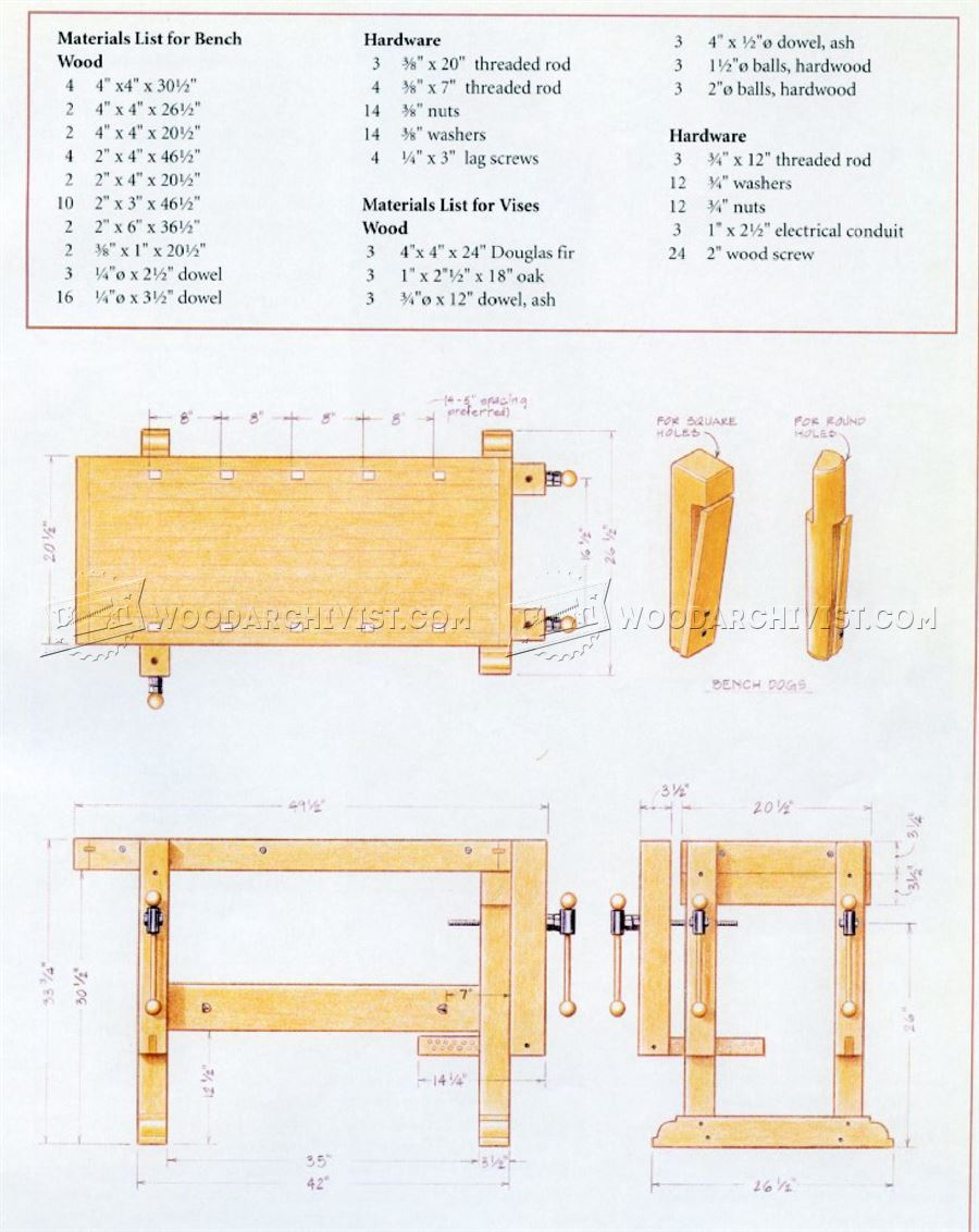 Sturdy Workbench Plans Woodarchivist