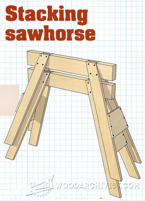 Stacking Sawhorse Plans  WoodArchivist