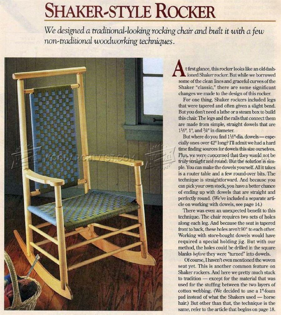 oak rocking chair plans brown executive office chairs shaker-style • woodarchivist