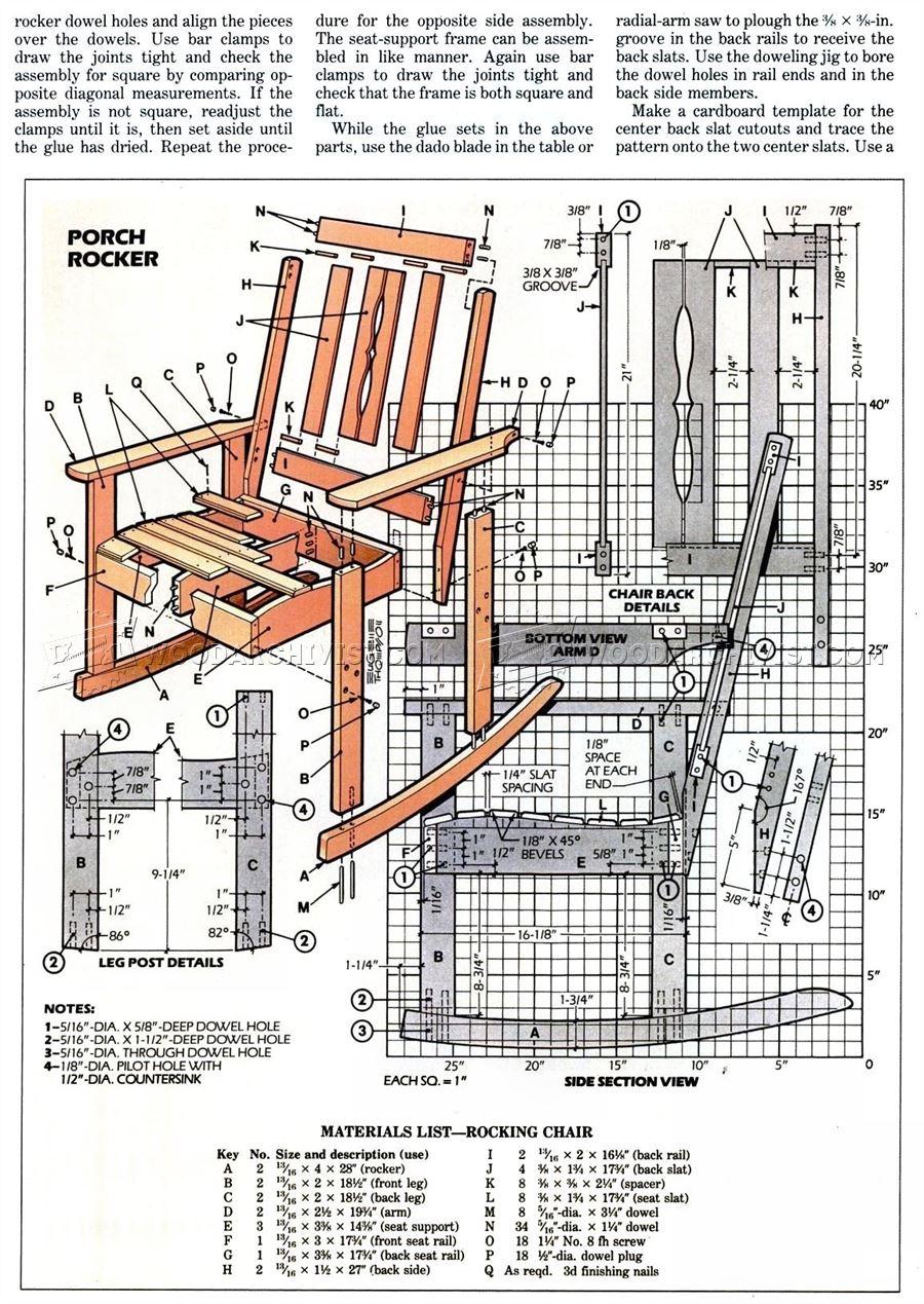 wooden rocking chair plans black wicker dining chairs solid oak • woodarchivist