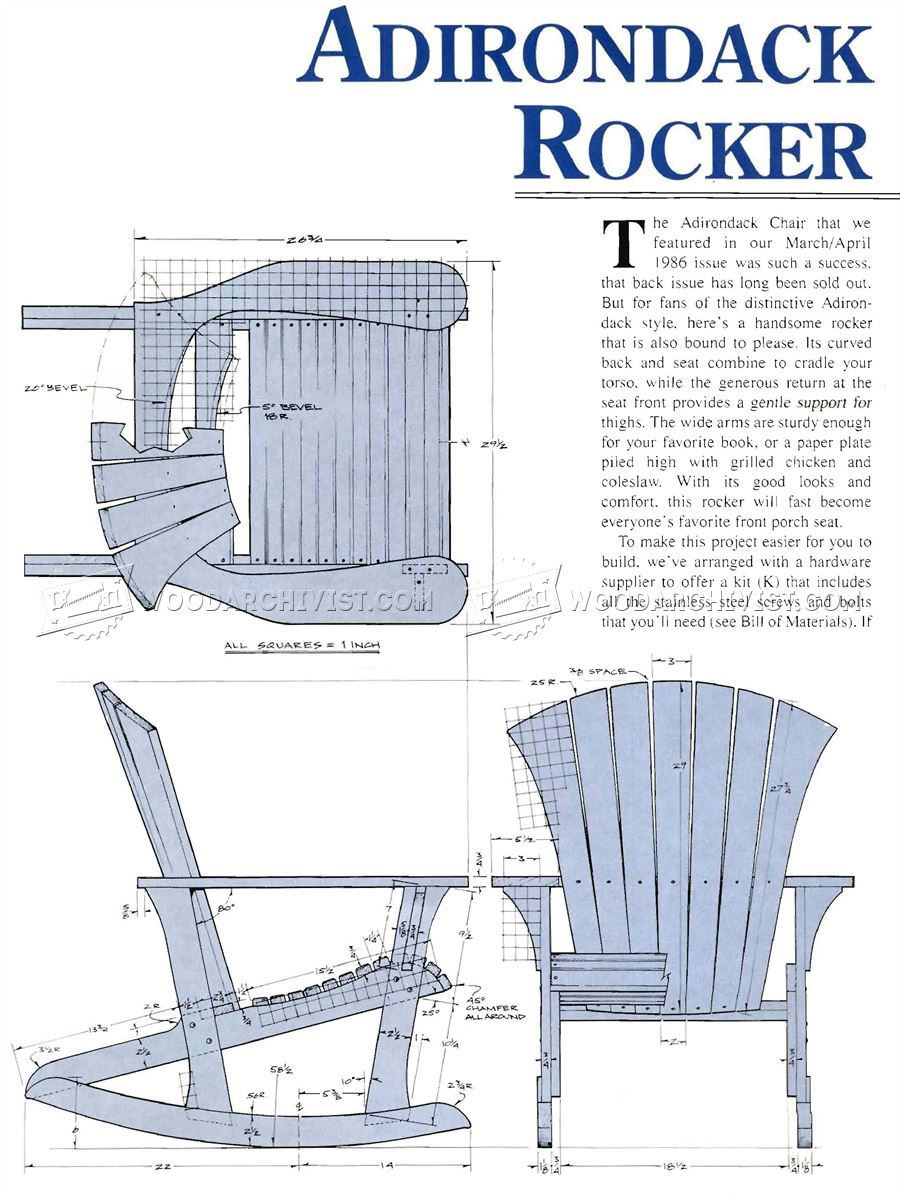 Adirondack Rocking Chair Plans  WoodArchivist