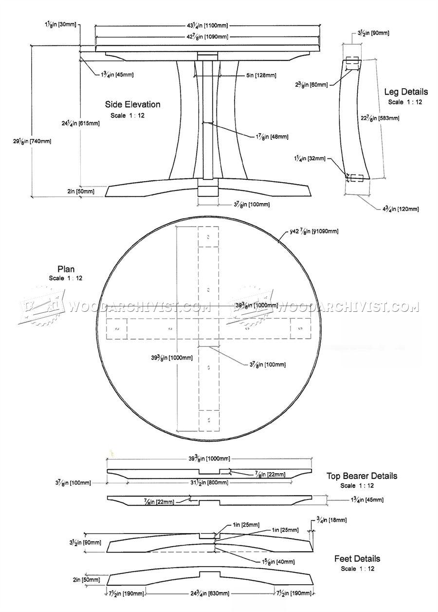 Round Pedestal Table Plans  WoodArchivist