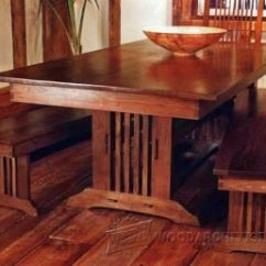 Outdoor Kitchen Construction Plans Island With Folding Leaf #2171 Arts And Crafts Dining Table • Woodarchivist