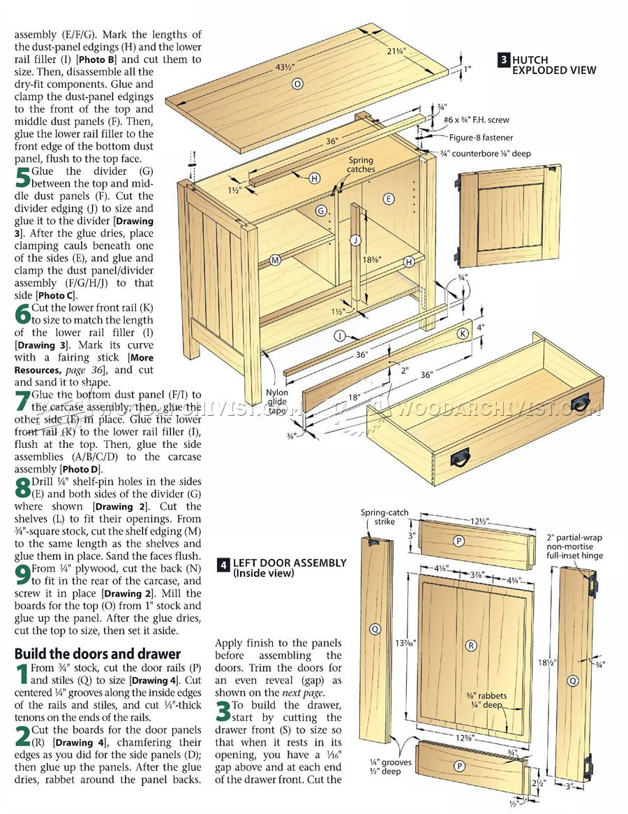 kitchen hutch plans china cabinet mission • woodarchivist
