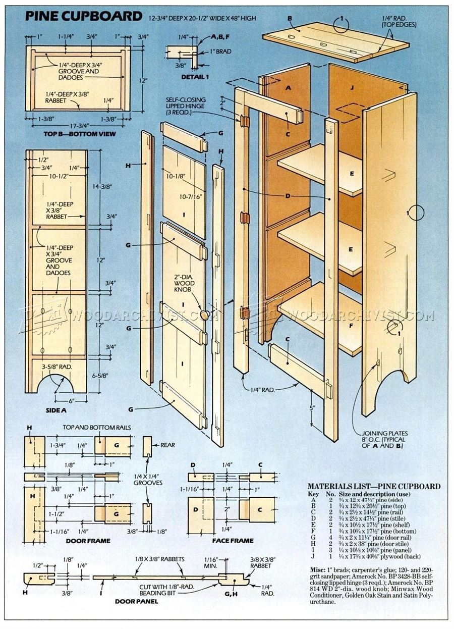 Pine Cupboard Plans  WoodArchivist