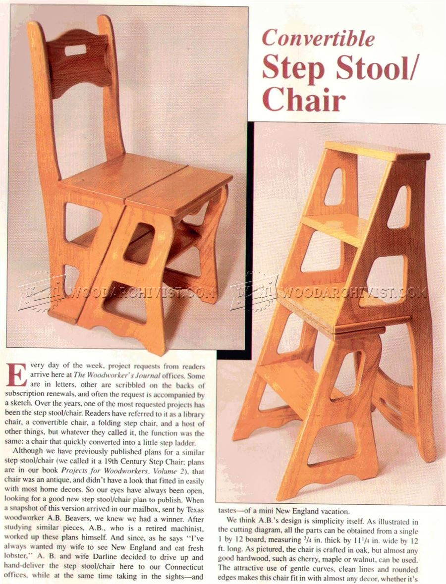 wooden step stool chair mid century cane barrel plans woodarchivist