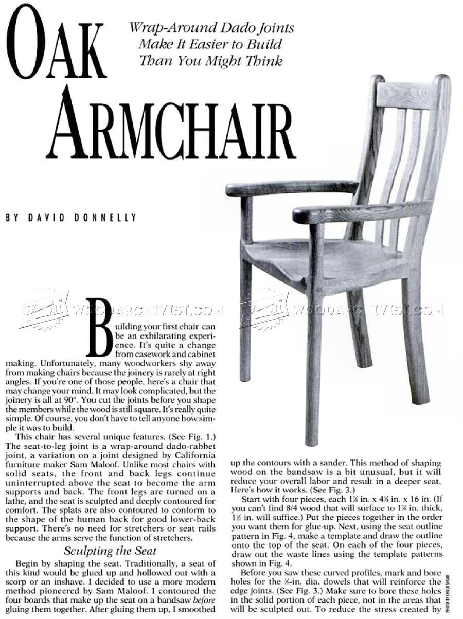 Oak Armchair Plans • WoodArchivist