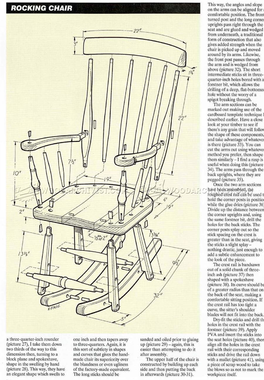 oak rocking chair plans director covers nz shaker • woodarchivist
