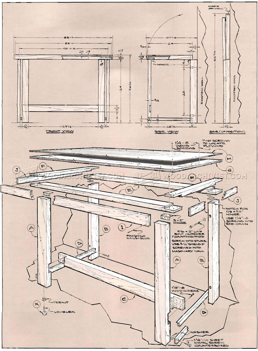 Fold Down Workbench Plans Woodarchivist