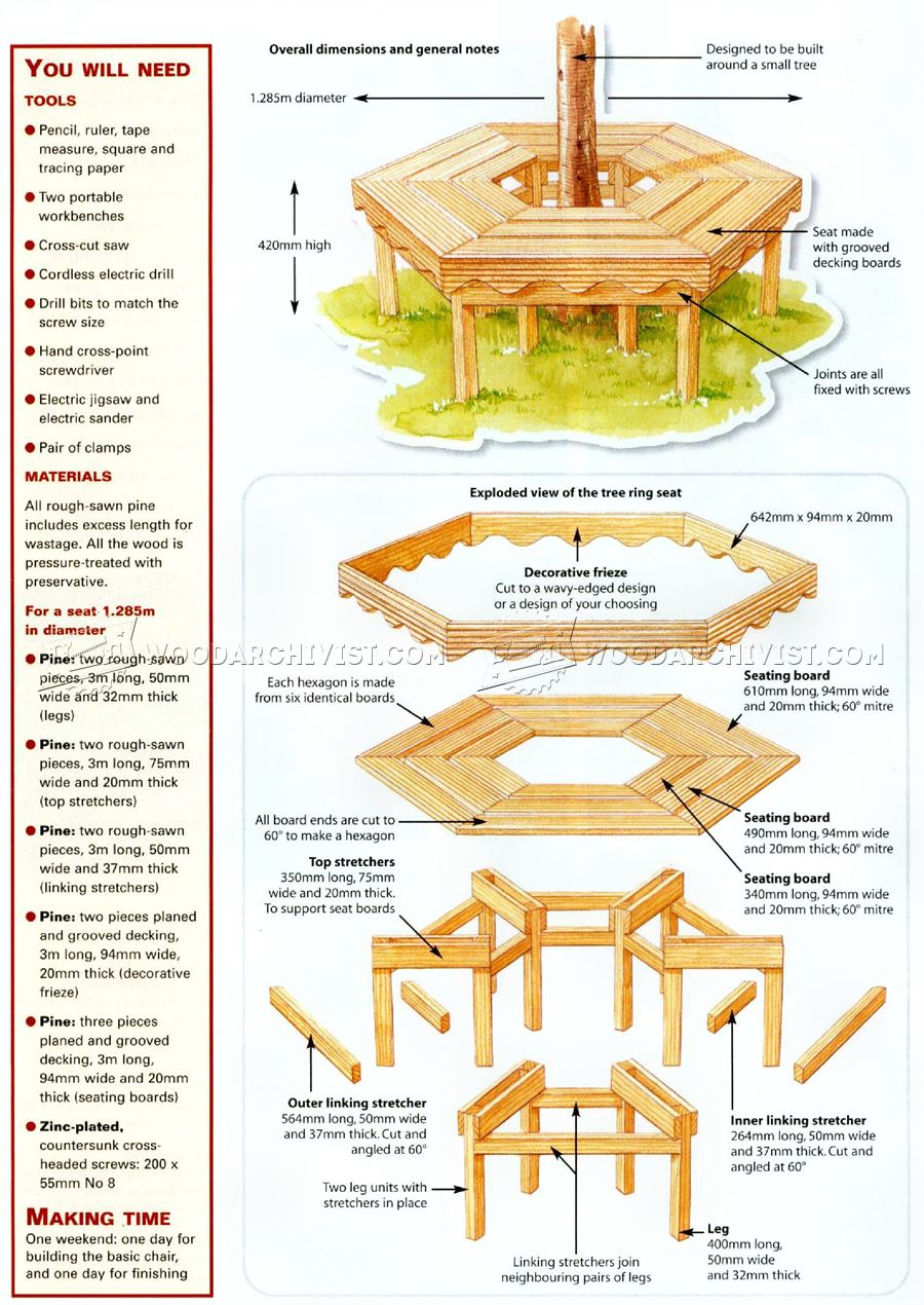 folding chair outdoor red chairs banff tree bench plans • woodarchivist