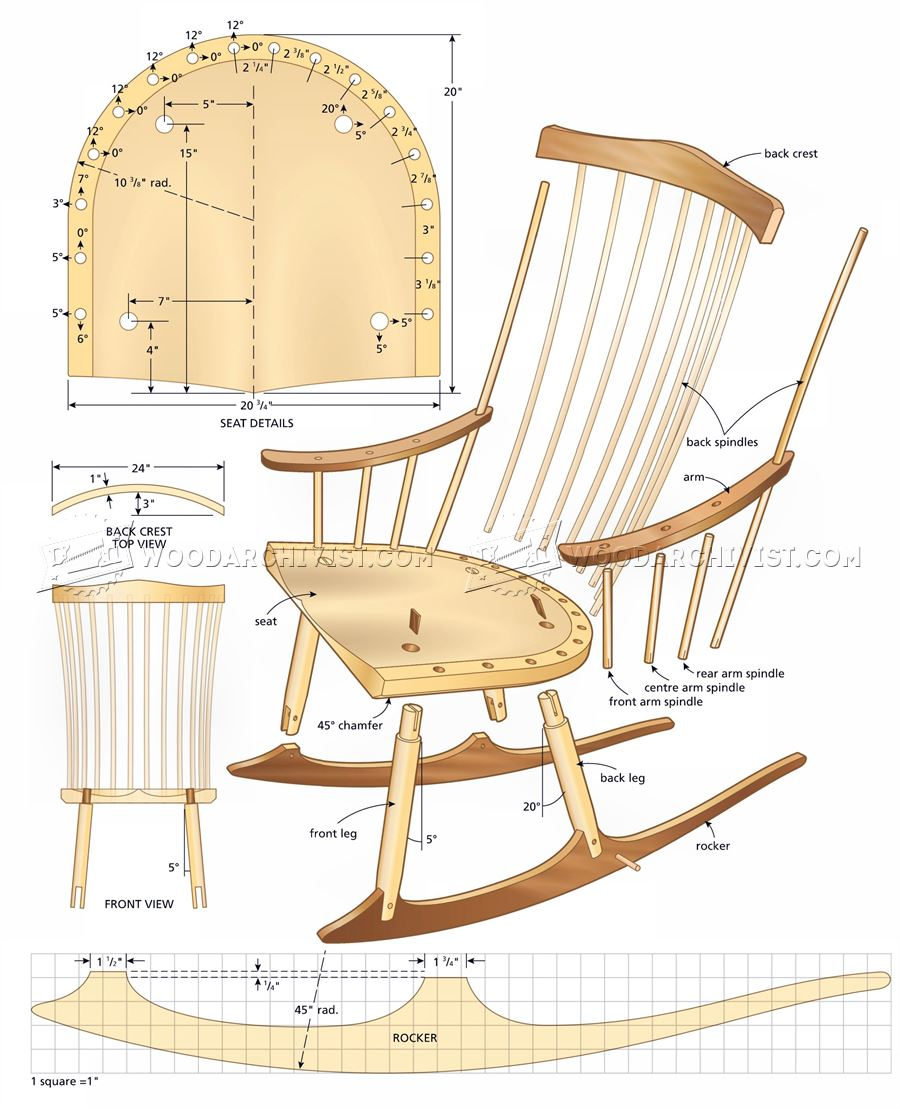 Rocking Chair Plans  WoodArchivist
