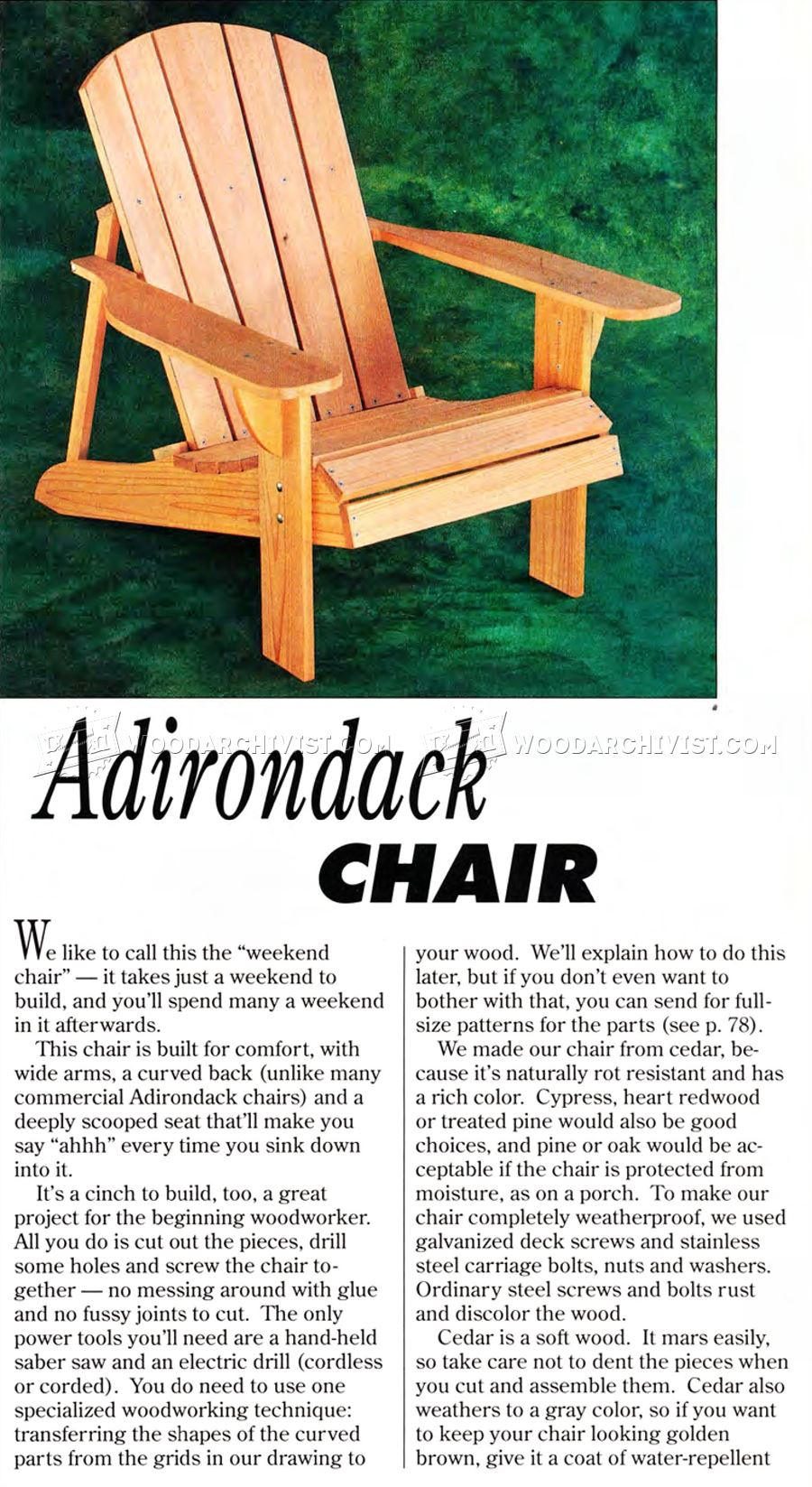 adirondack chair blueprints wood chairs classic plans • woodarchivist