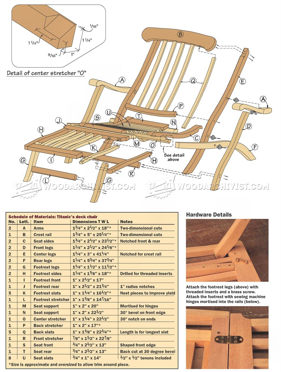 wooden lounge chair plans big game titanic deck • woodarchivist