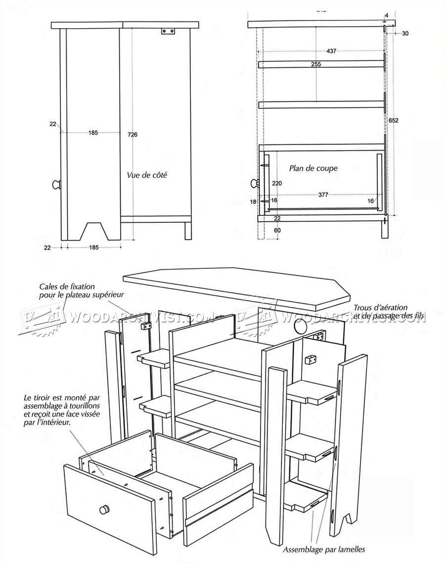 Corner TV Stand Plans • WoodArchivist