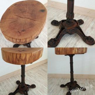 Tisch mit Baumscheibe aus Eiche und Gestell aus Gußeisen Tische