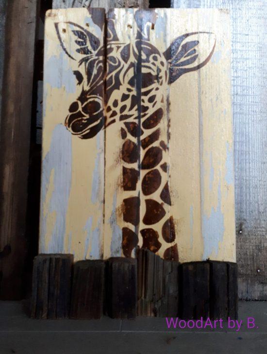 WoodArt by B. Wanddeko Giraffe