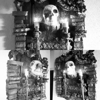 WoodArt by B.Wanddeko-Kerzenhalter aus der Gruft.Kurios und Gruselig.