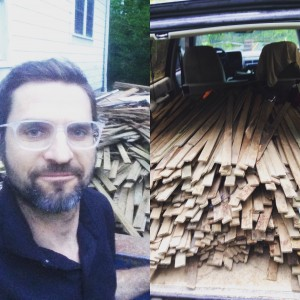 left- me in front of a dumpster filled with lath. right- my truck loaded up with lots of lath!