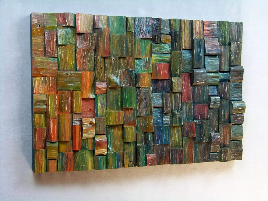 Wood collage sculpture by Canadian artist Olga Oreshyna has a unique textured style and expressionistic emotional effect