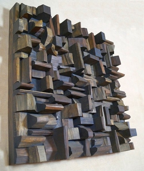 wood sound diffuser, wood acoustic panel, wood audio diffuser, recycled wood art