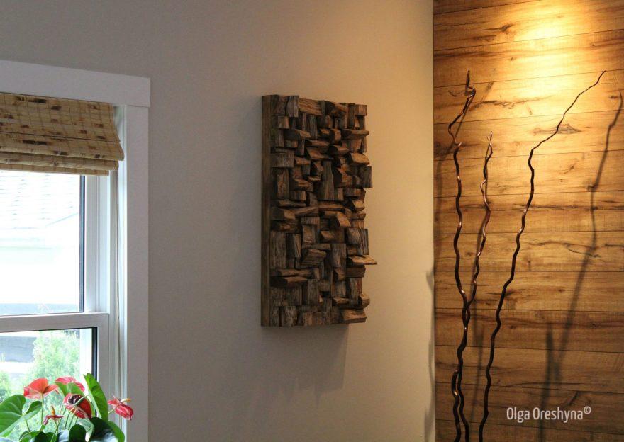 interior design, wood wall art, wall art ideas, wood art, wood wall sculpture, contemporary wood art, wood blocks panel, home decor