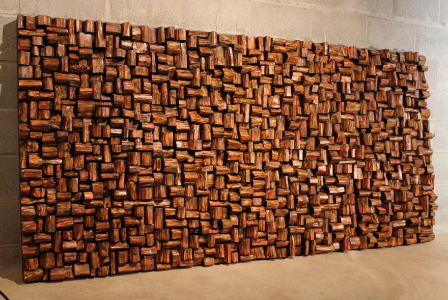 Custom design artwork, modern wood wall sculpture designed and created to meet aesthetical and acoustical requirements
