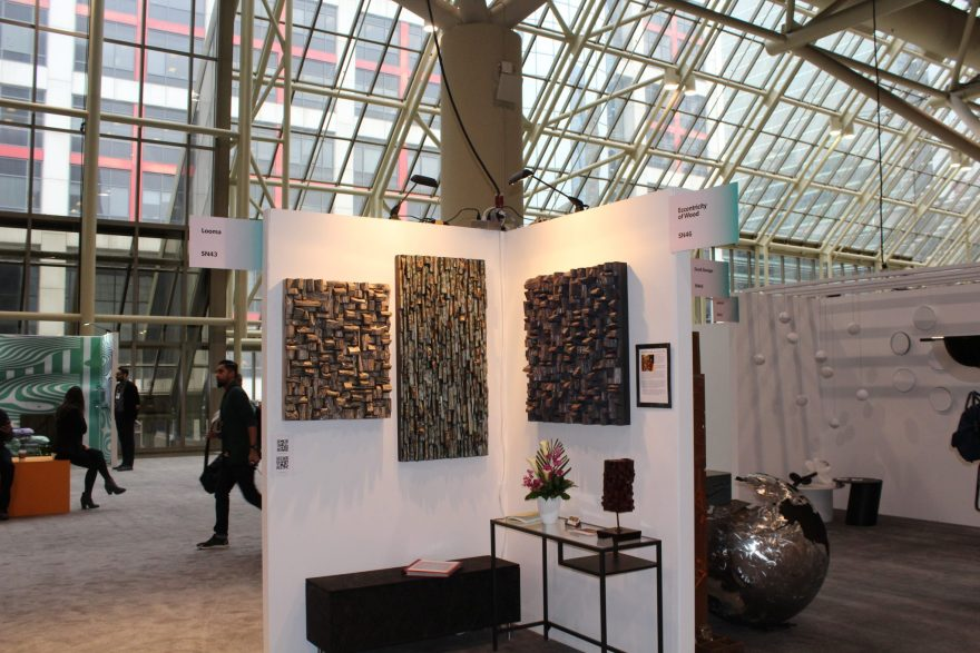 Olga Oreshyna, the local artist well known for her exceptional work with recycled wood displays new contemporary abstract artworks at Interior Design Show Toronto
