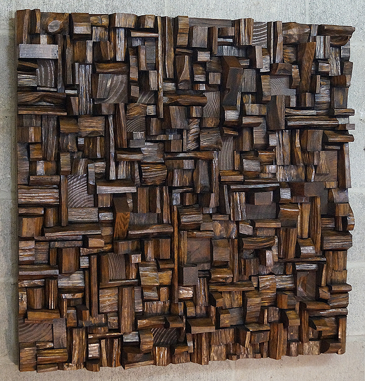 Original artwork by Canadian artist Olga Oreshyna, extraordinary recycled wood wall sculpture