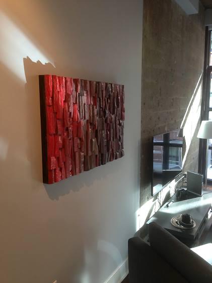wood wall art, corporate art, hospitality art, office art, contemporary wood art, wood blocks assemblage, acoustic panel, acoustic art, interior design, home decor,