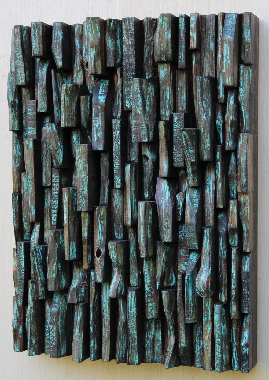 wood art, painting on wood, contemporary wood sculpture, zen art, wood interior design, home decor, wood blocks panel, wood assemblage