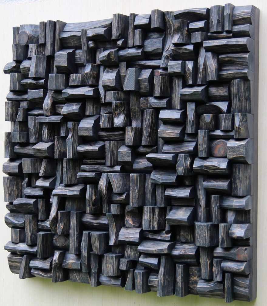 Contemporary wood sculpture by Canadian artist Olga Oreshyna. Natural wood wall art provides creative, attractive, and functional acoustic solution all in one.