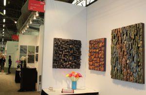 artexpo NY, contemporary wall art, wood art, wood blocks design, wood blocks assemblage, eccentricity of wood, Olga Oreshyna art