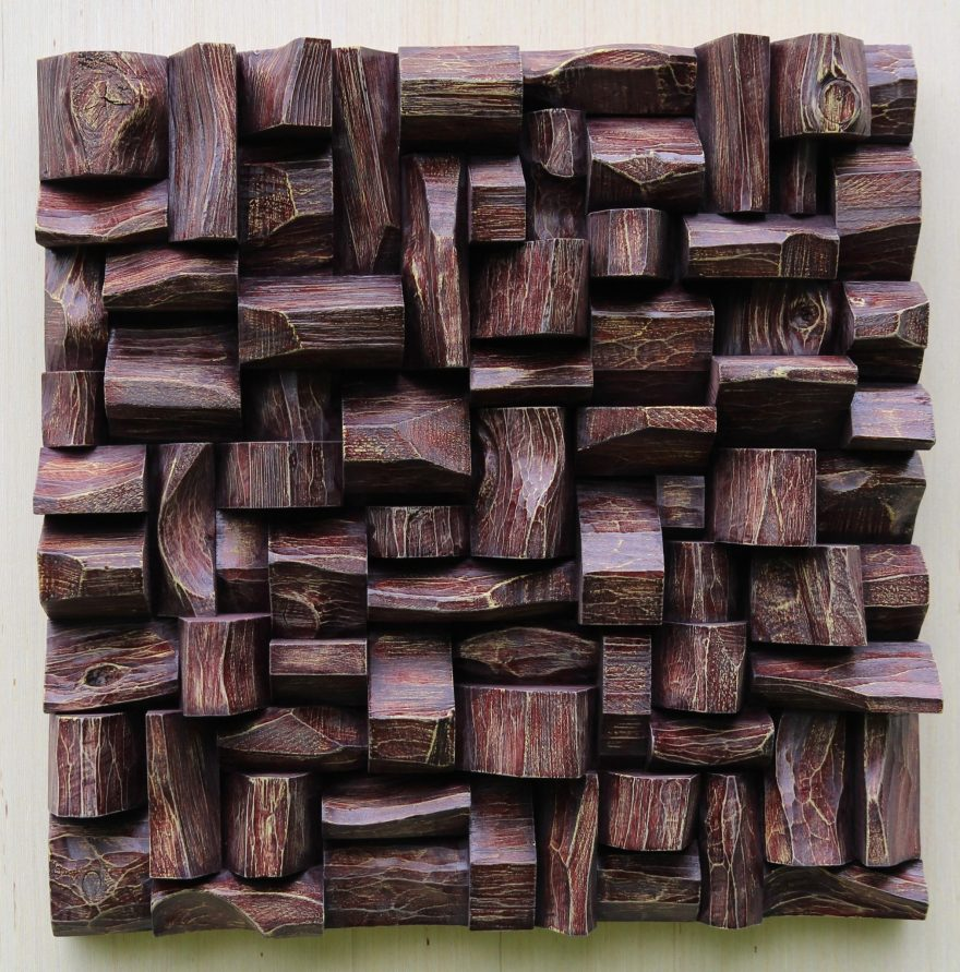 Original, one of a kind contemporary artwork by Canadian artist Olga Oreshyna. Exceptional wood wall sculpture distinguished and highlighted with richly textured surface and intricate wood blocks shapes