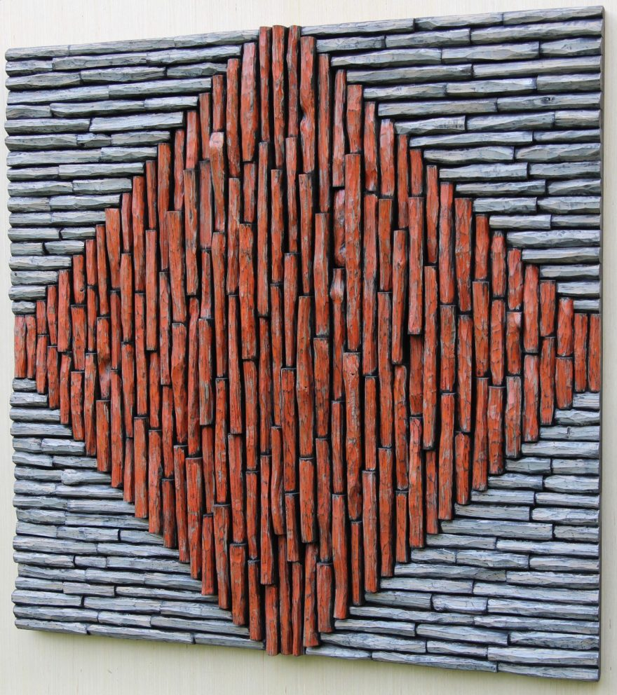 Highly distinctive and expressionistic artwork by Canadian artist Olga Oreshyna, a unique wood compositions of richly textured surfaces and intricate shapes