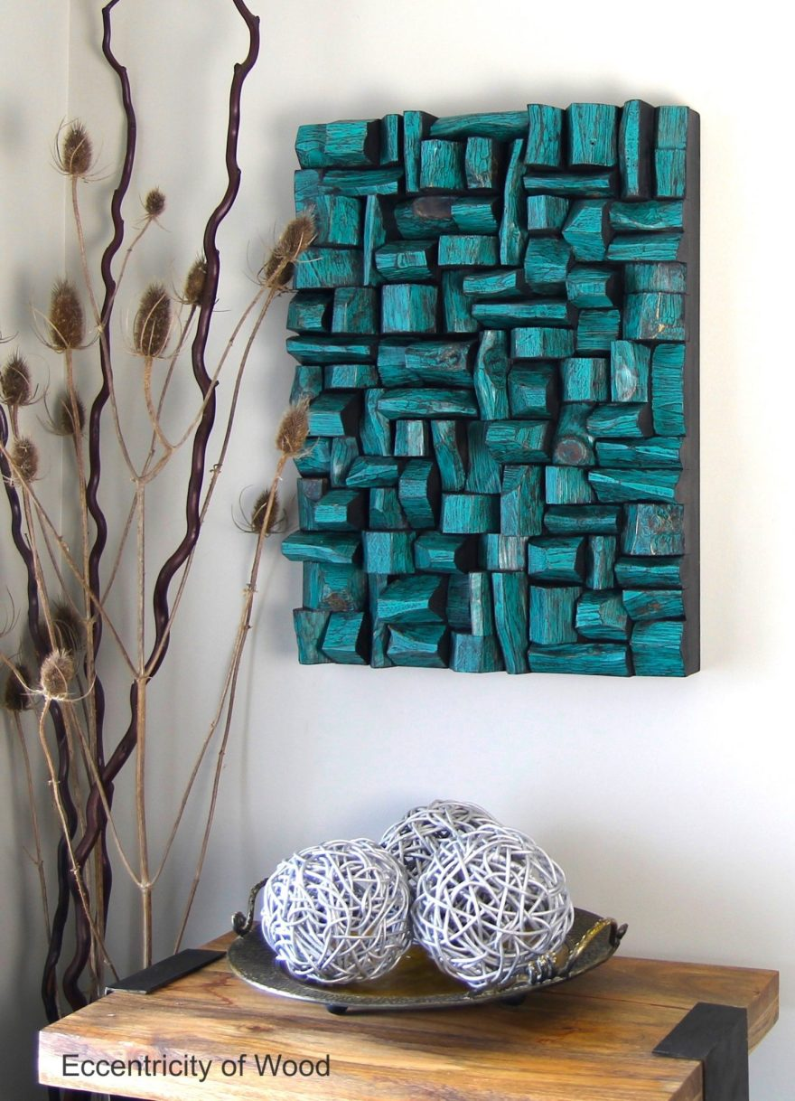 One of a kind natural wood blocks art with its vibrant turquoise color will create a wow factor in any place. A striking piece of art makes a big statement and a strong focal point.