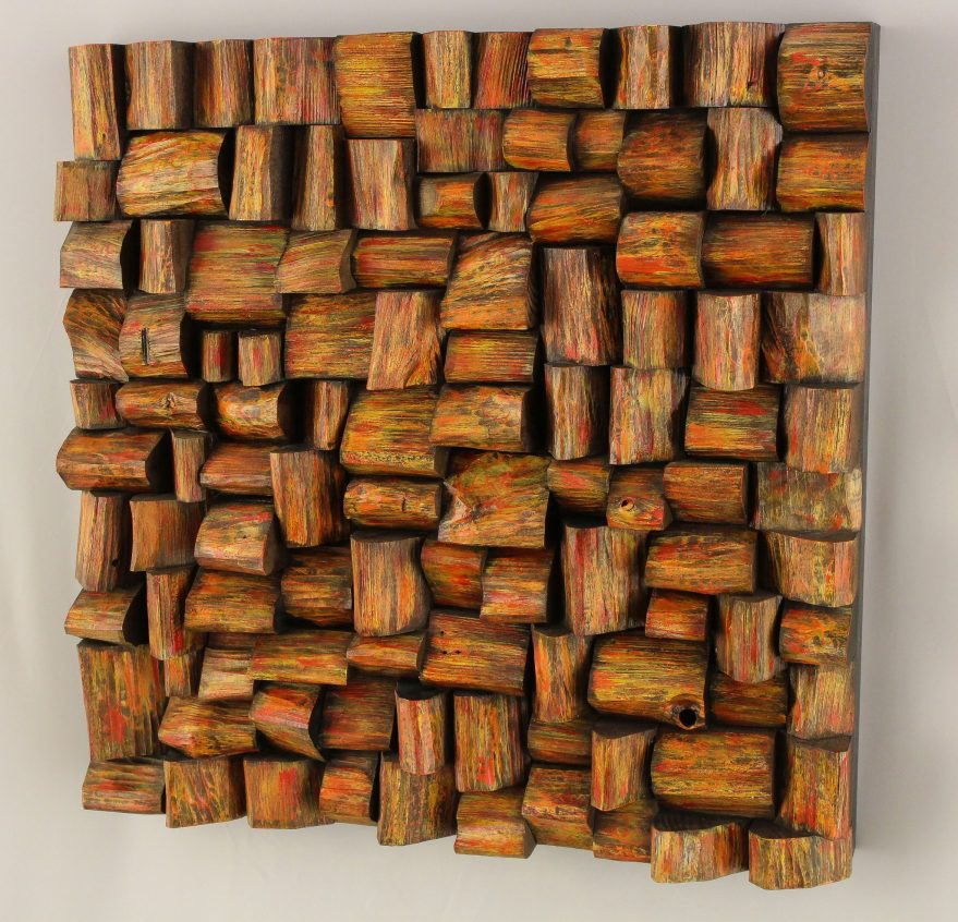 Unique wood blocks sculpture, contemporary wood art