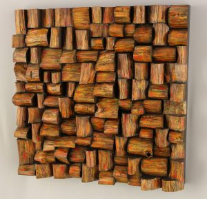 Unique wood blocks sculpture, contemporary wood art
