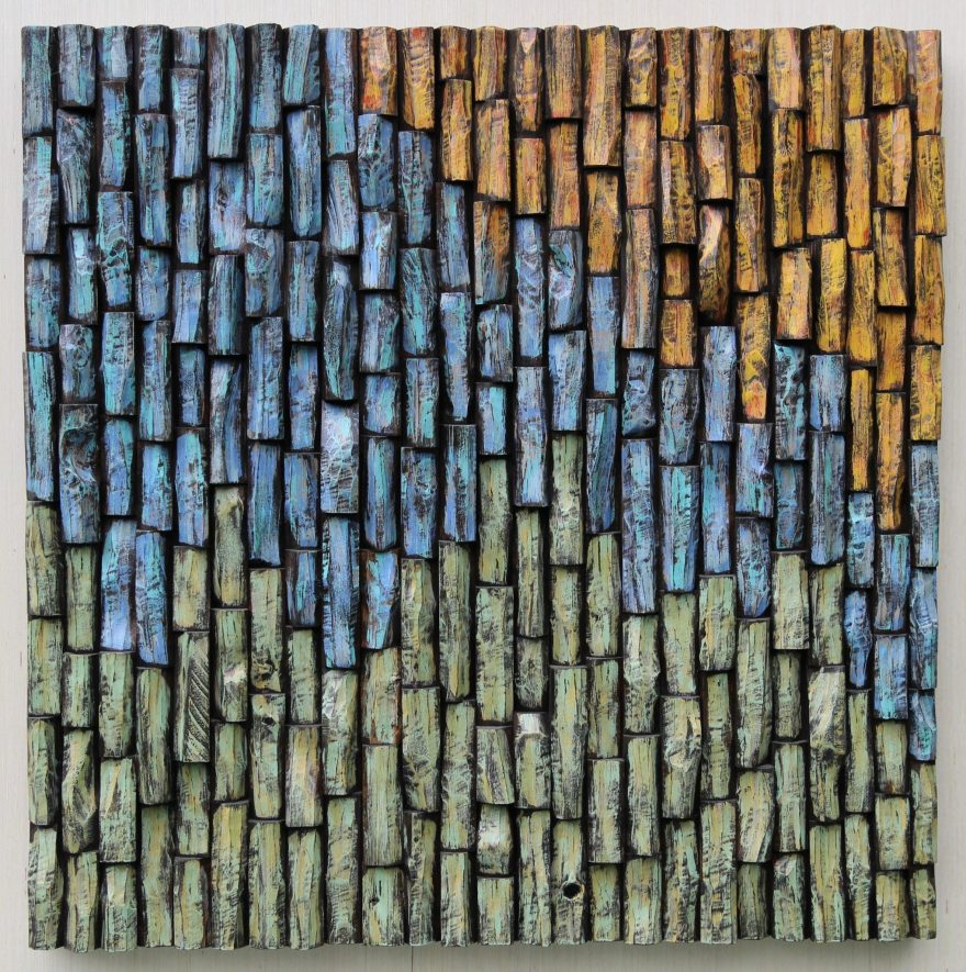 Contemporary abstract artwork by Canadian artist Olga Oreshyna, an impressive combination of eco-friendly and organic design and