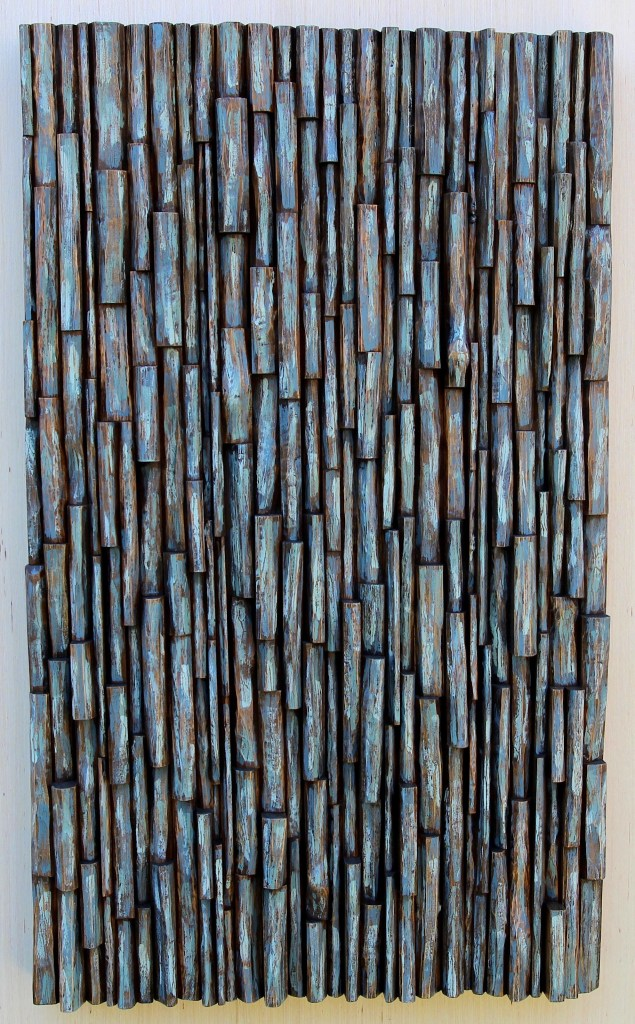Contemporary hand carved wood wall sculpture, original wood blocks design, makes unique visual impact and brings a sense of serenity to your space