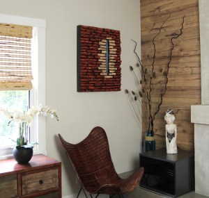 Interior accent art piece that makes a statement and a strong focal point.