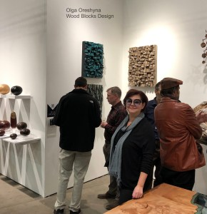 Olga Oreshyna Wood Assemblage represented by Maria Elena Cravetz Gallery at SOFA EXPO Chicago