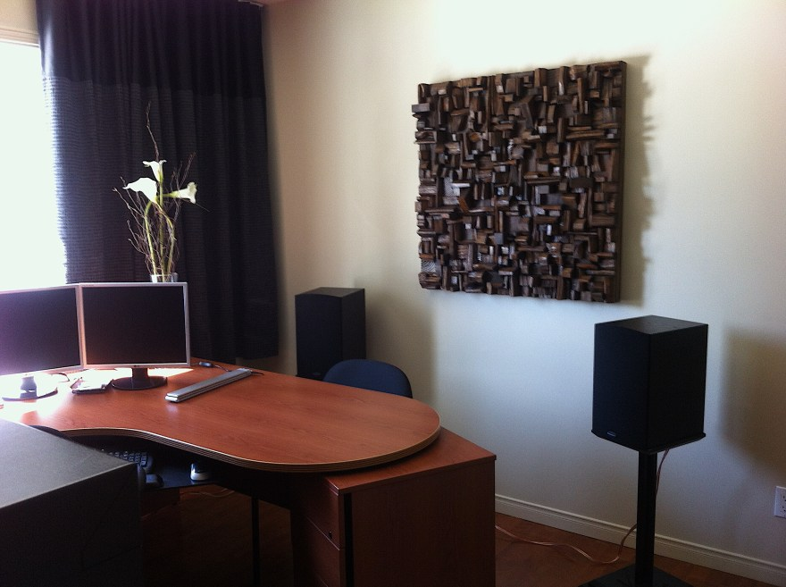 modern wood wall art, office acoustic treatment