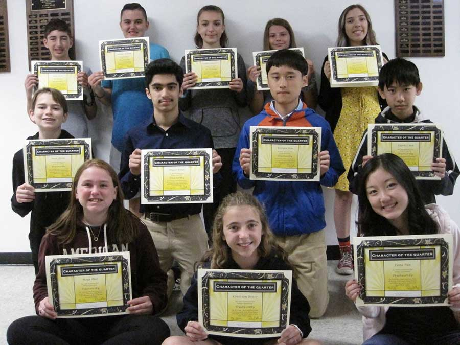 Amity Middle School Character Of The 4th Quarter Award