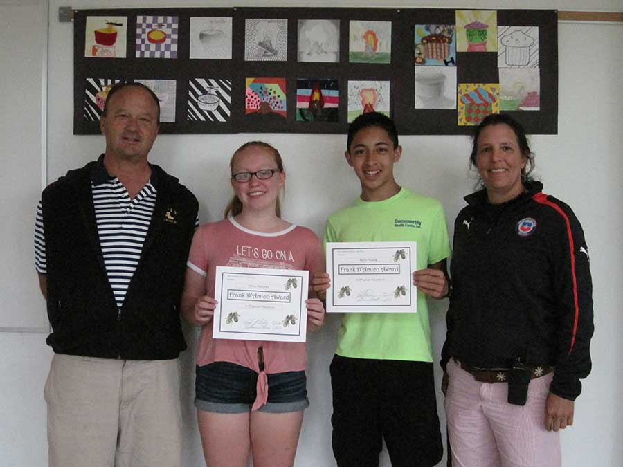 Amity Middle School Frank D'Amico Physical Education Award Winners