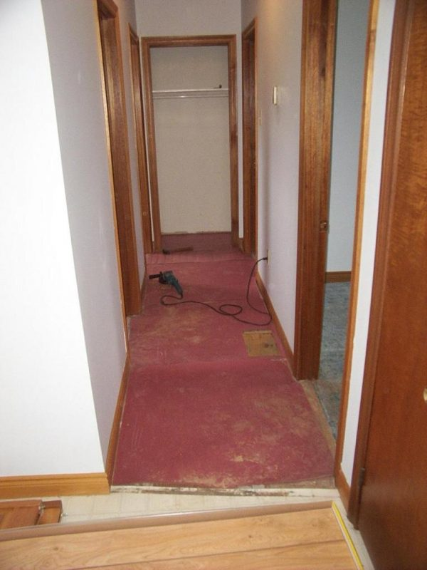 Hallway flooring renovation.