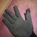 Torn glove.