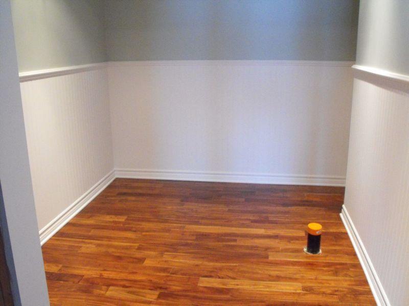 Walnut flooring installed.