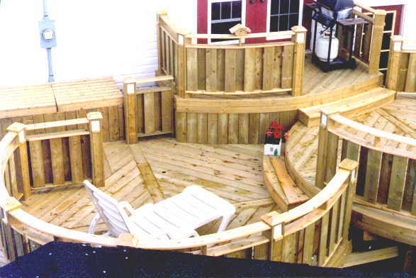 Building a round deck.