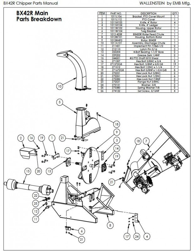 Wallenstein BX42R Wood Chipper parts