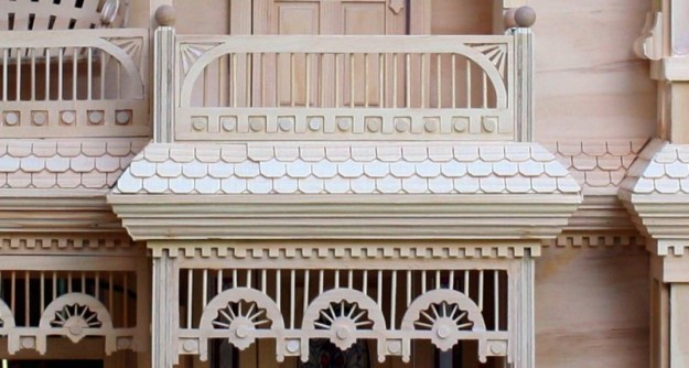 close up of shingles on Victorian Dollhouse